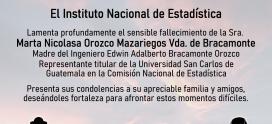 El INE lamenta el sensible fallecimiento de la Sra. Marta Nicolasa Orozco Mazariegos vda. de Bracamonte