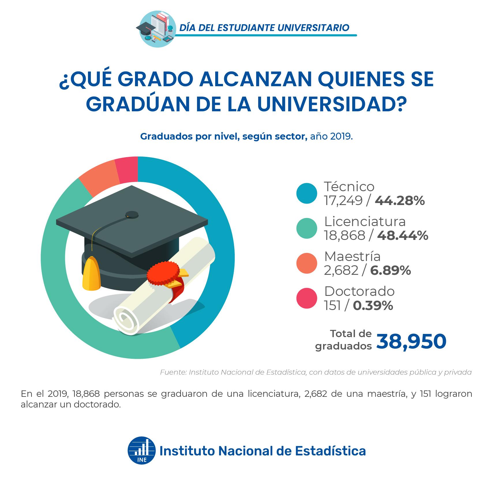 Graduados por nivel, según sector, año 2019
